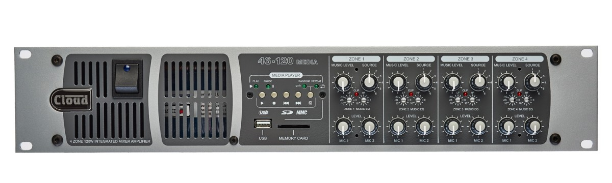 46-120Media 4 Zone Integrated Mixer Amplifier